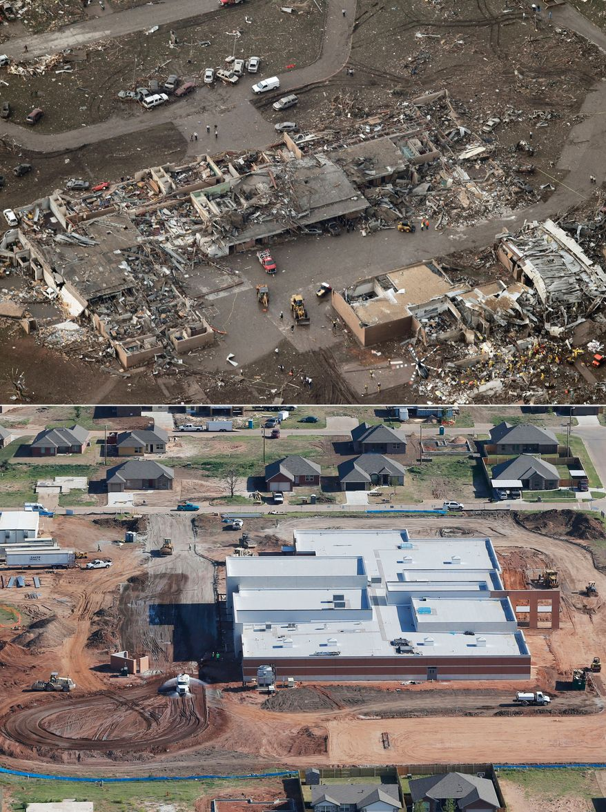 This aerial photo combination shows the damage to Tower Plazas Elementary School, May 21, 2013, in Moore, Okla., after seven students died when a massive tornado hit school on May 20, top, and reconstruction continues at the school on May 15, 2014, bottom. (AP Photo)