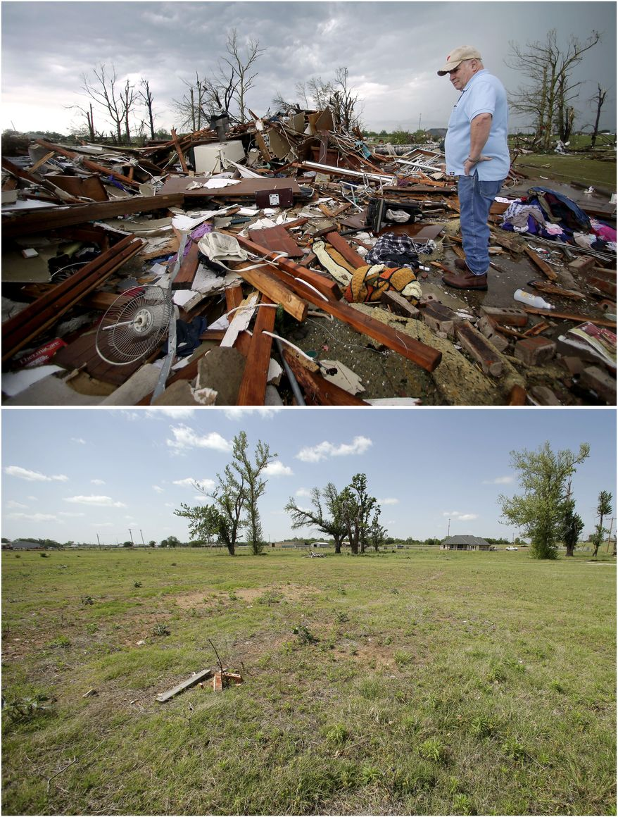 In this photo combination, Monty Montgomery surveys the scene as he prepares to clean up a friend's tornado-ravaged home on May 23, 2013, in Moore, Okla., top, and the site on the outskirts of the Oklahoma City suburb is cleared and barren on May 8, 2014, bottom. (AP Photo/Charlie Riedel)
