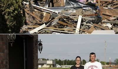 In this photo combination, Ben Osborne surveys the scene as he sorts through his tornado-ravaged home on May 22, 2013, in Moore, Okla., top, and Osborne stands for a photo with his wife Deidra and daughter Hannah, May 8, 2014, on the site where Deidra rode out the storm in shelter with 13 of her neighbors. (AP Photo/Charlie Riedel)