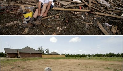 In this photo combination, Rick Brown puts on a pair of boots after finding them in his tornado-ravaged home in Moore, Okla., on May 22, 2013, top, and sits on the now-cleared lot on May 8, 2014, bottom. Brown said construction should start soon on a new home to replace the one destroyed by the massive tornado that tore a wide swath through the Oklahoma City suburb on May 20, 2013. (AP Photo/Charlie Riedel)