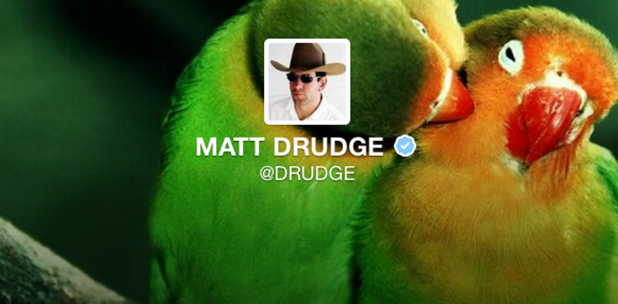Matt Drudge's Twitter profile.
