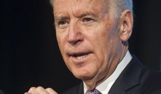 FILE - This May 16, 2014 file photo shows Vice President Joe Biden speaking in Arlington, Va. What happens when you invite Vice President Joe Biden to your prom? Chances are he won't show. But he doesn't ignore it, either. That's what happened when Talia Maselli invited Biden to her high school prom in Newington, Conn. The student reached out last fall knowing Biden's dance card would likely fill up. (AP Photo/Kevin Wolf, File)