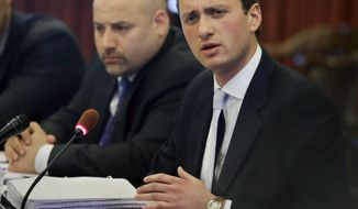 "As his attorney Craig Carpenito, left, listens, Matt Mowers, former aide to Gov. Chris Christie, answers a question in Trenton, N.J., Tuesday, May 20, 2014, from New Jersey lawmakers investigating the traffic jam scandal that's engulfed the governor's administration.Mowers, whose job included getting endorsements from mayors said Tuesday that he was ""dumbfounded and disappointed"" to learn that a northern New Jersey mayor was apparently targeted in a political payback plot orchestrated by Christie loyalists. (AP Photo/Mel Evans)"