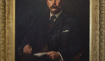 """This image made available by the Museum of London shows an oil painting of a portrait of Sir Arthur Conan Doyle, 1897, by Sidney Paget. The Museum of London on Tuesday May 20, 2014 announced an exhibition devoted entirely to the detective, from Arthur Conan Doyle's hand-written manuscripts to the coat worn by Benedict Cumberbatch in the BBC series """"Sherlock."""" It is the first time the museum devoted to London's history has held a show about a fictional character. (AP Photo/Museum of London)"""