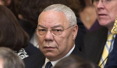 ** FILE ** Former Secretary of State Colin Powell attends the unveiling of the official portraits of former President George W. Bush and former first lady Laura Bush in the East Room of the White House in Washington on Thursday, May 31, 2012. (AP Photo/Pablo Martinez Monsivais)
