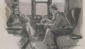 "This image made available by the Museum of London shows the illustration The Adventure of the Silver Blaze - ""Holmes gave me a sketch of the events"", from the Strand magazine Vol iv.1892, page 646. The Museum of London on Tuesday May 20, 2014 announced an exhibition devoted entirely to the detective, from Arthur Conan Doyle's hand-written manuscripts to the coat worn by Benedict Cumberbatch in the BBC series ""Sherlock."" It is the first time the museum devoted to London's history has held a show about a fictional character. (AP Photo/Museum of London)"
