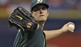 Oakland Athletics starting pitcher Drew Pomeranz delivers to the Tampa Bay Rays during the first inning of a baseball game Tuesday, May 20, 2014, in St. Petersburg, Fla. (AP Photo/Chris O'Meara)