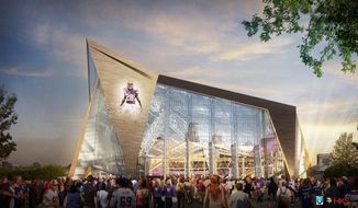 FILE - This file handout released May 13, 2013, by the Minnesota Sports Facilities Authority and the Minnesota Vikings shows a rendering of the new Vikings stadium. Minneapolis has been awarded the 2018 Super Bowl by NFL owners. The owners rewarded the Vikings for arranging to build a new stadium on the site of the old Metrodome by choosing Minneapolis over New Orleans and Indianapolis. (AP Photo/HKS, File)