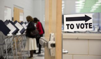 In this May 16, 2014 photo, voters cast their ballots at a polling site during early voting for Georgia's upcoming May 20 primary election in Atlanta. Fulton County officials are promising efficiency at the polls during Tuesday's primary, despite a lingering inquiry by the Georgia Secretary of State and Attorney General into ballot and voting problems during the 2010 and 2012 elections. (AP Photo/David Goldman)