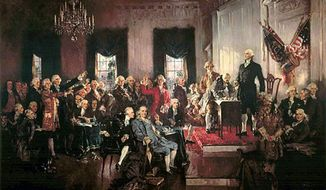 Howard Chandler Christy's 'Scene at the Signing of the Constitution of the United States.' (Wikimedia Commons)