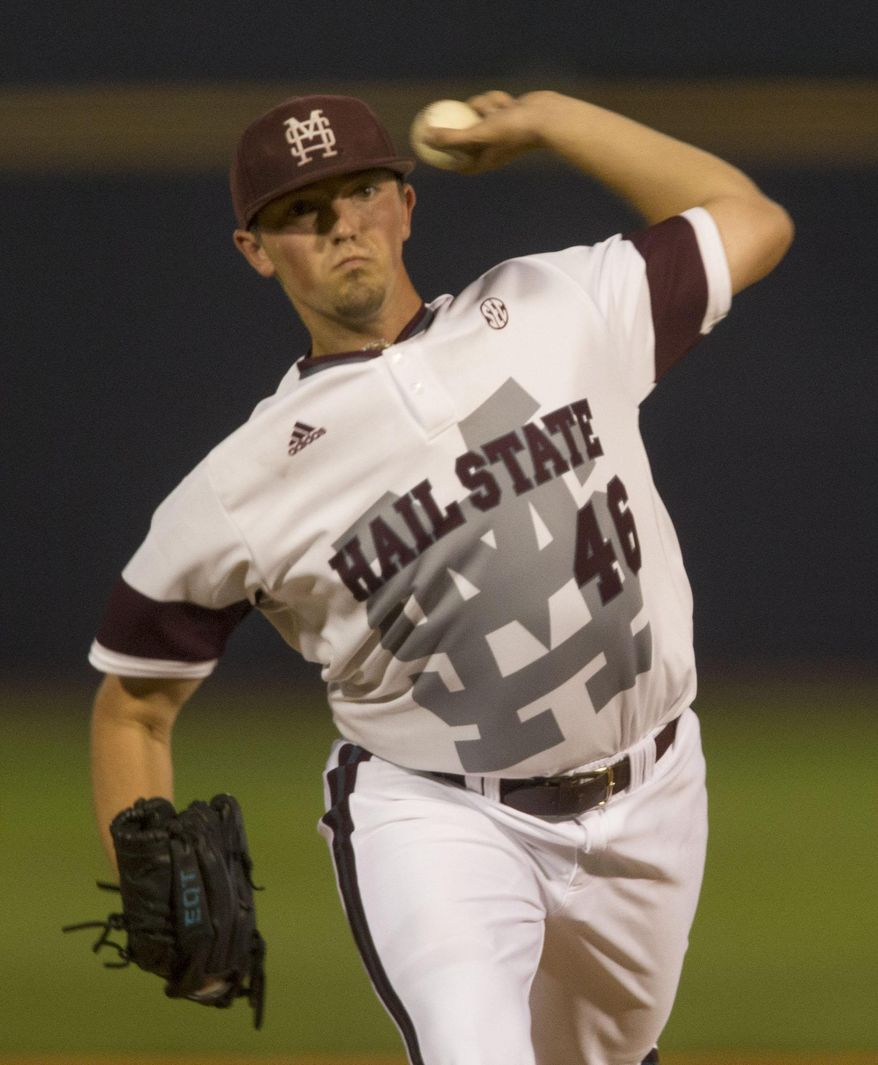 Mississippi State's Lucas Laster pitches during the Southeastern Conference NCAA college baseball tournament, against Georgia on Tuesday, May 20, 2014, in Hoover, Ala. (AP Photo/Hal Yeager)