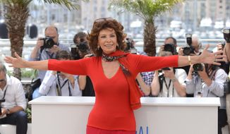 CORRECTS SPELLING OF NAME  Actress Sophia Loren during a photo call for Human Voice (Voce Umana) at the 67th international film festival, Cannes, southern France, Wednesday, May 21, 2014. (Photo by Arthur Mola/Invision/AP)