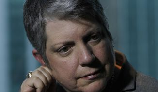 "University of California President Janet Napolitano speaks during an interview with The Associated Press in Mexico City, Wednesday May 21, 2014. The former U.S. secretary of homeland security says political calls for more walls and policing at the U.S.-Mexico border is a ""straw man"" designed to defeat immigration reform. (AP Photo/Marco Ugarte)"