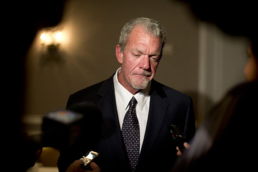 FILE - In this Oct. 8, 2013 file photo, Indianapolis Colts owner Jim Irsay pauses as he speaks to reporters following the NFL owners' fall meetings in Washington. (AP Photo/Carolyn Kaster, File)