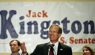 Republican candidate for Senate Jack Kingston speaks to supporters during a election-night watch party Tuesday, May 20, 2014 in Atlanta. Seven Republicans and four Democrats are running for the Georgia seat, which opened when Sen. Saxby Chambliss announced plans to retire.  (AP Photo/John Bazemore)