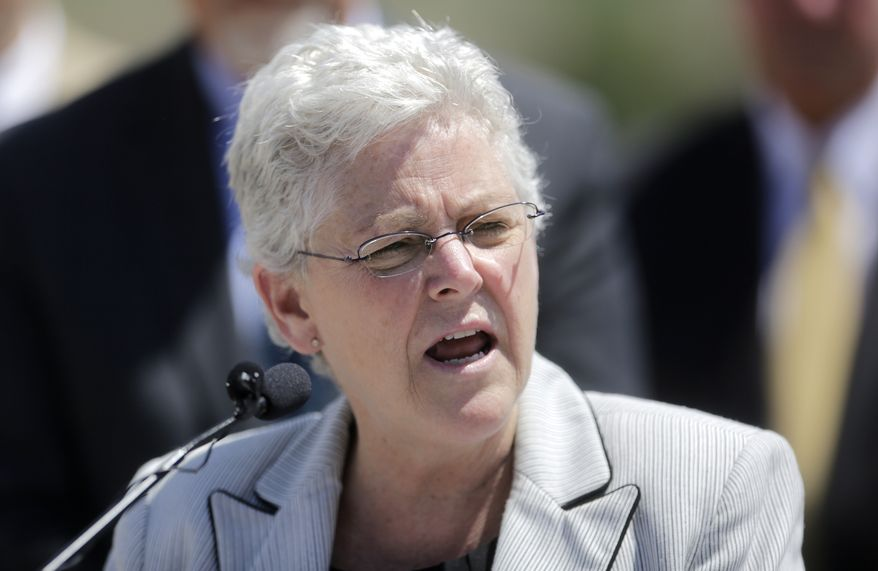 ** FILE ** U.S. Environmental Protection Agency administrator Gina McCarthy makes remarks during a news conference Wednesday, May 21, 2014, in Salt Lake City. (AP Photo/Rick Bowmer)