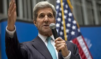 ** FILE ** U.S. Secretary of State John Kerry speaks to U.S. Embassy employees in Mexico City, Wednesday, May 21, 2014. (AP Photo/Carolyn Kaster, Pool)