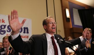 Republican candidate for Senate Jack Kingston speaks to supporters during an election-night watch party Tuesday, May 20, 2014 in Atlanta. Kingston will face David Perdue in a run-off election. (AP Photo/John Bazemore)