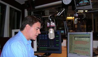 ** FILE ** This May 31, 2005, file photo shows Fox News shows anchor Gregg Jarrett rehearsing in New York for the debut of Fox News Radio's five-minute newscast. Jarrett was jailed Wednesday May 21, 2014, after being arrested in a bar at Minneapolis-St. Paul Airport. (AP Photo/Fox News, File)