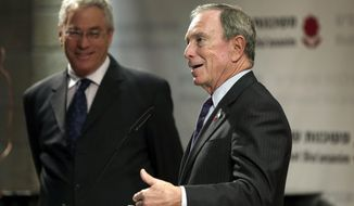 Former New York Mayor Michael Bloomberg speaks during a news conference of the Genesis Prize Foundation in Jerusalem, Thursday, May 22, 2014. Bloomberg said Thursday he is honored to be the first recipient of the $1 million Genesis Prize and pledged the money would go to help make the world a better place. (AP Photo/Tsafrir Abayov)