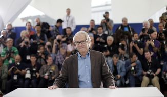 Director Ken Loach poses for photographers during a photo call for Jimmy's Hall at the 67th international film festival, Cannes, southern France, Thursday, May 22, 2014. (AP Photo/Thibault Camus)