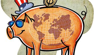 Export Import Piggy Bank Illustration by Greg Groesch/The Washington Times
