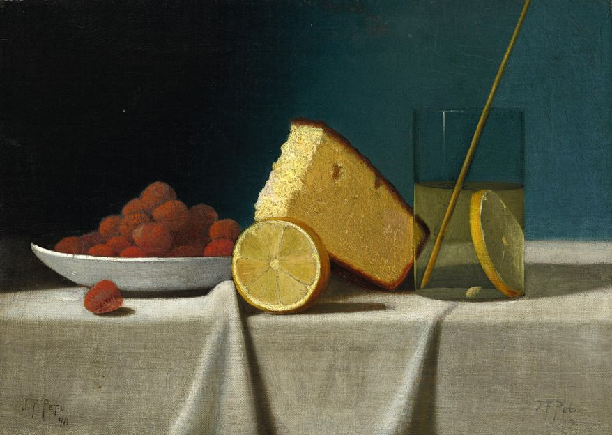 "This image provided by the National Gallery of Art shows John Frederick Peto's ""Still Life with Cake, Lemon, Strawberries and Glass"" that has been transferred to the National Gallery of Art from the estate of Paul Mellon. Paintings, sculptures and other works are among 110 objects bequeathed to the museum from the estate of museum benefactor Mellon after his death in 1999. They remained in the care of his widow, Rachel ""Bunny: Mellon, at their Virginia home until her death in March. (AP Photo/National Gallery of Art)"