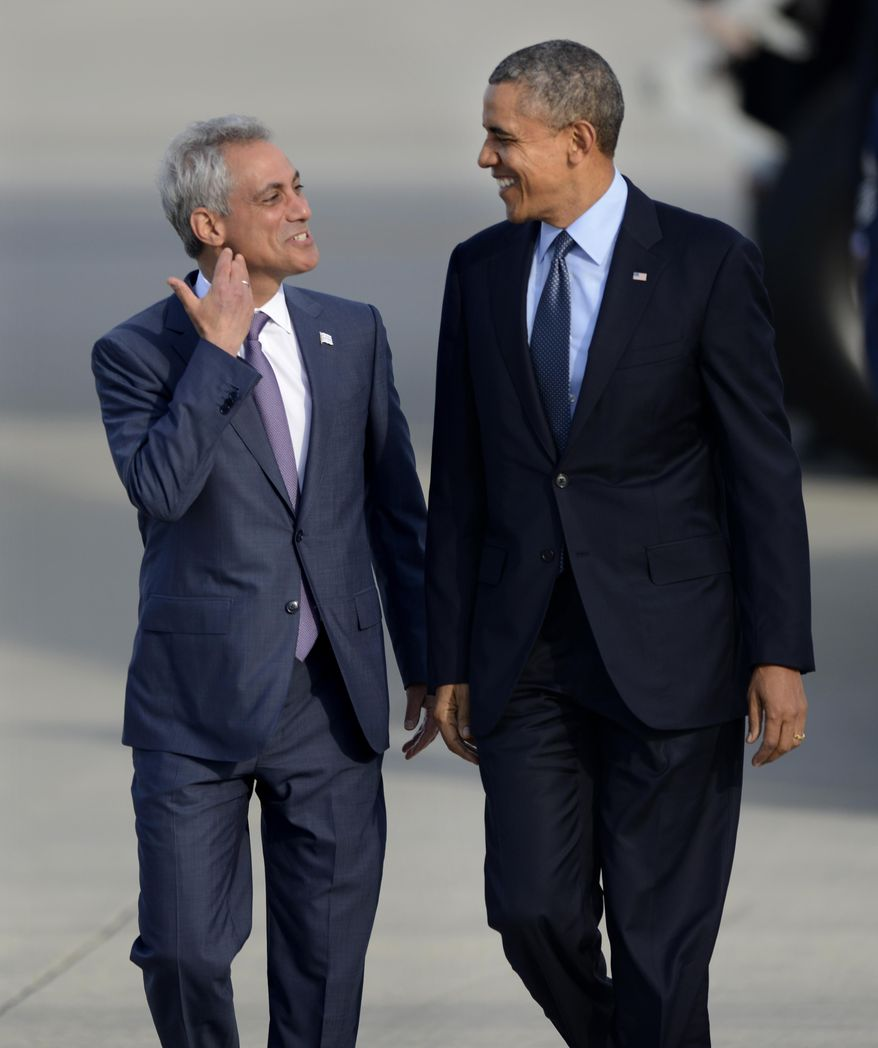** FILE ** President Barack Obama right, talks with Chicago Mayor Rahm Emanuel left, as he walks off Air Force One after arriving at O'Hare International Airport in Chicago, Thursday, May 22, 2014. (AP Photo/Paul Beaty)
