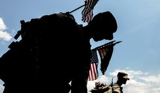 Pfc William Mcdonald, left, and Pfc. Kallas, right, with the Third U.S. Infantry Regiment (The Old Guard) place small American flags at grave markers to honor the nations fallen members of the military at Arlington National Cemetary, Washington, D.C, Thursday, May 22, 2014. The Old Guard placed flags for more than 220,000 graves. (Andrew Harnik/The Washington Times)