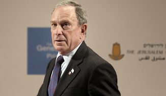 **FILE** Former New York Mayor Michael Bloomberg attends a news conference of the Genesis Prize Foundation in Jerusalem on May 22, 2014. (Associated Press)