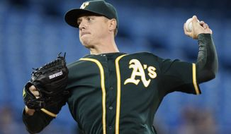 Oakland Athletics starting pitcher Scott Kazmir throws against the Toronto Blue Jays during the first inning of a baseball game Friday, May 23, 2014, in Toronto. (AP Photo/The Canadian Press, Frank Gunn)