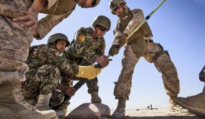 Marine Staff Sgt. David Denseley (center) from Salt Lake City helps members of the Afghan National Army clean out the bore of a 60 mm mortar at a mortar range in Helmand province. (U.S. Marine Corps)