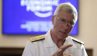 "U.S. Pacific Command Commander Adm. Samuel J. Locklear III, gestures prior to the session on ""Security Outlook"" in the ongoing World Economic Forum on East Asia Friday, May 23, 2014 at the financial district of Makati city, east of Manila, Philippines. Locklear warns that the ""risk of miscalculation"" that could trigger a wider conflict in a tense territorial standoff between China and Vietnam is high and urged both nations to exercise restraint. Locklear also said Friday that the Asian neighbors should resolve their territorial conflicts on the basis of international law.(AP Photo/Bullit Marquez)"