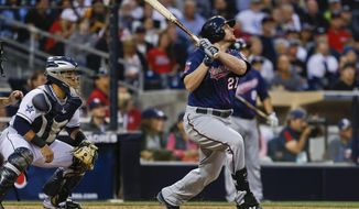 Minnesota Twins' Chris Parmelee and San Diego Padres catcher Rene Rivera watch Parmelee's sacrifice fly to left field that brought in Joe Mauer from third with the game's first run, during the sixth inning of a baseball game Wednesday, May 21, 2014, in San Diego.  (AP Photo/Lenny Ignelzi)