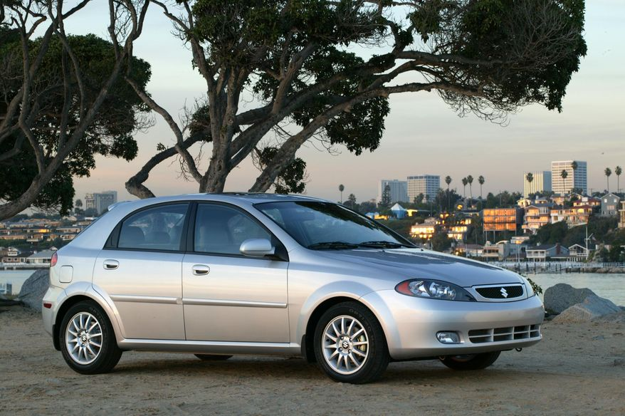 FILE - This undated file photo provided by Suzuki shows the 2005 Reno. Suzuki is recalling more than 184,000 small cars in the U.S. because the steering columns can catch fire. The recall covers Forenza models from 2004 through 2008 and Reno models from 2005 through 2008. Both vehicles were made for Suzuki by General Motors. (AP Photo/Suzuki, File)
