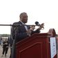 Prince Georges County Executive Rushern Baker, (D) gave brief remarks at the base of the Capitol Wheel at the National Harbor on Thursday, May 22. Khalid Naji-Allah/ Special to The Washington Times