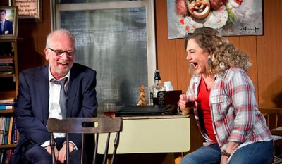 """This image taken in May 2014 and made available by Jo Allan PR shows actors Kathleen Turner and Ian McDiarmid performing a scene from """"Bakersfield Mist"""" in a London theatre. The 59-year-old actress, whose career stretches from 1980s movie hits to Tony-nominated stage roles, does not like being pigeonholed. Cast early on as a sex symbol, even in animated form, she's long refused to be stuck with the limited parts Hollywood provides for women over 40. But she knows it's a strategy that brings risks. (AP Photo/Simon Annand, Jo Allan PR)"""
