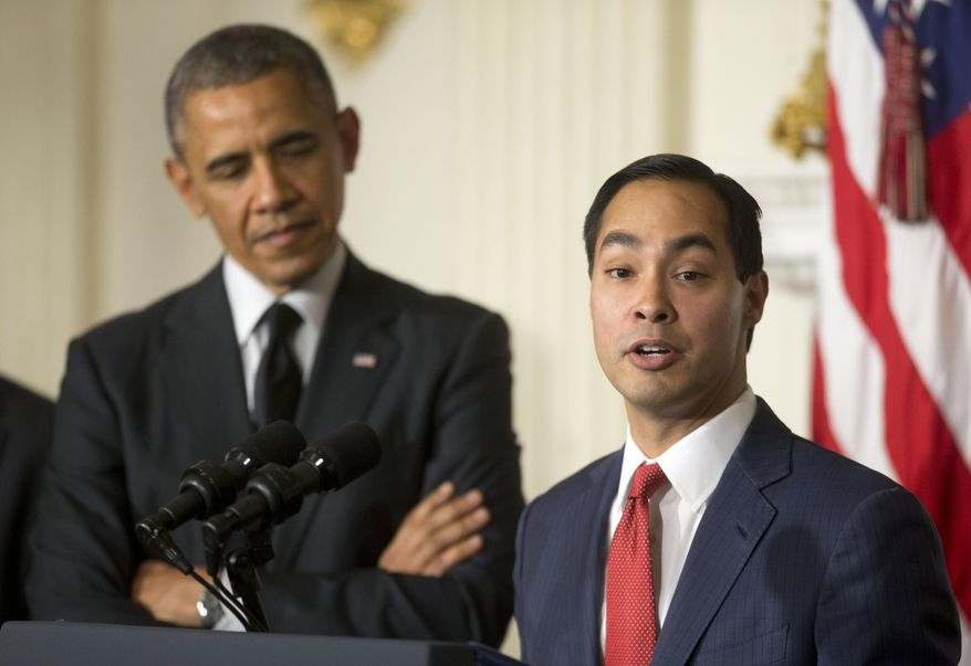 President Barack Obama, left, listen to San Antonio Mayor Julian Castro, right, after announcing the nomination of Castro to lead the Department of Housing and Urban Development (HUD) to replace current Secretary Shaun Donovan, in the State Dinning Room of the White House in Washington, Friday, May 23, 2014. (AP Photo/Pablo Martinez Monsivais)