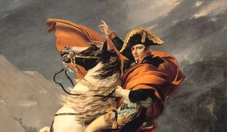 """Image: """"Napoleon Bonaparte Crossing the Alps,"""" by French painter Jacques-Louis David."""