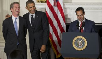 President Barack Obama, center, puts his arm over outgoing Sec. of Dept. of Housing and Urban Development (HUD) Shaun Donovan, left, as he announced his nomination of San Antonio Mayor Julian Castro, right, to replace Donovan, in the State Dinning Room of the White House in Washington, Friday, May 23, 2014. (AP Photo/Pablo Martinez Monsivais)