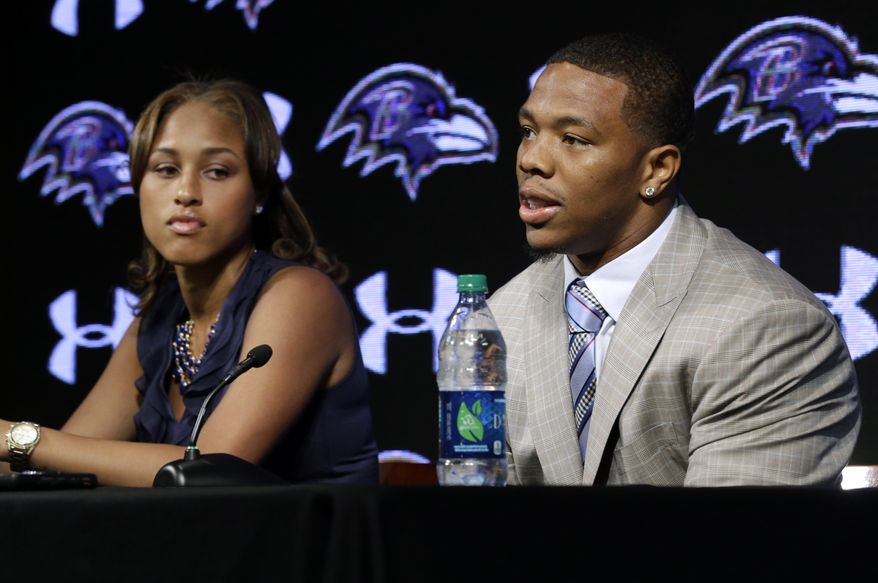 Baltimore Ravens running back Ray Rice, right, speaks alongside his wife Janay during an NFL football news conference, Friday, May 23, 2014, at the team's practice facility in Owings Mills, Md. Ray Rice spoke to the media for the first time since his arrest for assaulting his fiance, now his wife, at a casino in Atlantic City, N.J.  (AP Photo/Patrick Semansky)
