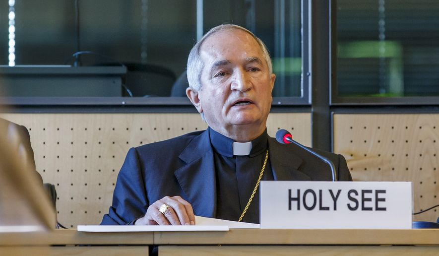 FILE - In this May 5, 2014 file photo Archbishop Silvano M. Tomasi, Apostolic Nuncio, Permanent Observer of the Holy See (Vatican) to the Office of the United Nations in Geneva, delivers his statement during the UN torture committee hearing on the Vatican, at the headquarters of the office of the High Commissioner for Human Rights (OHCHR) in the Palais Wilson, in Geneva, Switzerland. The UN committee says Friday, May 23, 2014, the Vatican has effective control over bishops and priests around the world who must comply with a U.N. anti-torture treaty, a finding that could expose the Catholic Church to new lawsuits by victims of priestly sex abuse. The committee has repeatedly said rape and sexual violence can be considered torture cases, which in much of the world don't carry statutes of limitations. (AP Photo/Keystone, Salvatore Di Nolfi, File)
