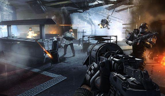 "Capt. William ""B.J."" Blazkowicz attacks in the video game Wolfenstein: The New Order"