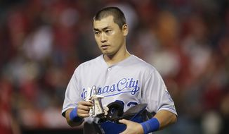 Kansas City Royals' Norichika Aoki, of Japan, walks off the field after the team's 6-1 loss to the Los Angeles Angels in a baseball game on Friday, May 23, 2014, in Anaheim, Calif. (AP Photo/Jae C. Hong)