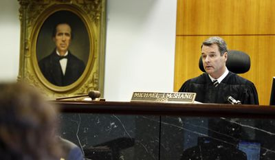 In this May 20, 2013 photo, Judge Michael McShane presides over a case at the Multnomah County Courthouse in Portland, Ore. McShane struck down Oregon's voter-approved 2004 ban on gay marriage on May 19, 2014. (AP Photo/The Oregonian, Thomas Boyd)