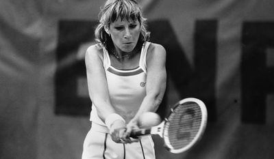 FILE - In this June 4, 1979 file photo, Chris Evert makes a returns against Ruta Gerulaitis during the French Open Tennis Championship in Paris. Evert won the first of her 18 career Grand Slam titles at the 1974 French Open. When this year's edition of the clay-court Grand Slam tournament begins Sunday May 25, 2014, Evert will be on hand as a TV analyst for ESPN, watching what's become a changed brand of tennis four decades later. (AP Photo, File)