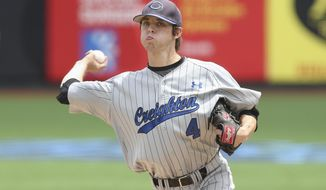 Creighton pitcher Bryan Sova throws in the fifth inning of their NCAA college baseball game against Seton Hall in the Big East Conference tournament, Saturday, May 24, 2014, in New York. Creighton won 2-1. (AP Photo/John Minchillo)