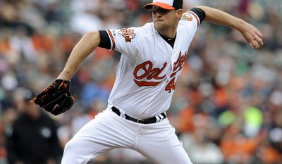 FILE - In this May 14, 2014, file photo, Baltimore Orioles pitcher Troy Patton delivers against the Detroit Tigers in a baseball game in Baltimore. The Orioles addressed their lack of depth at catcher, acquiring Nick Hundley from the San Diego Padres on Saturday, May 24, 2014, in a trade for Patton.  (AP Photo/Gail Burton, File)