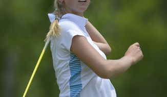 Jessica Korda hits her tee shot on the fourth hole in the final round of the Airbus LPGA Classic golf tournament at Magnolia Grove on Sunday, May 25, 2014, in Mobile, Ala. (AP Photo/G.M. Andrews)