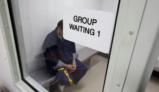 FILE- In this Feb. 14, 2013 file photo, an inmate waits for his appointment in a holding room at new mental health treatment unit at the California Medical Facility in Vacaville, Calif. Two members of the Council On Mentally Ill Offenders, an obscure council within the Department of Corrections and Rehabilitation, said the council can not meet its obligations because it has lacked an executive director for more than two years. (AP Photo/Rich Pedroncelli, File)